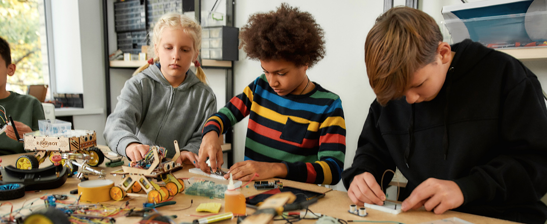A photo of young people engaged in STEM activities