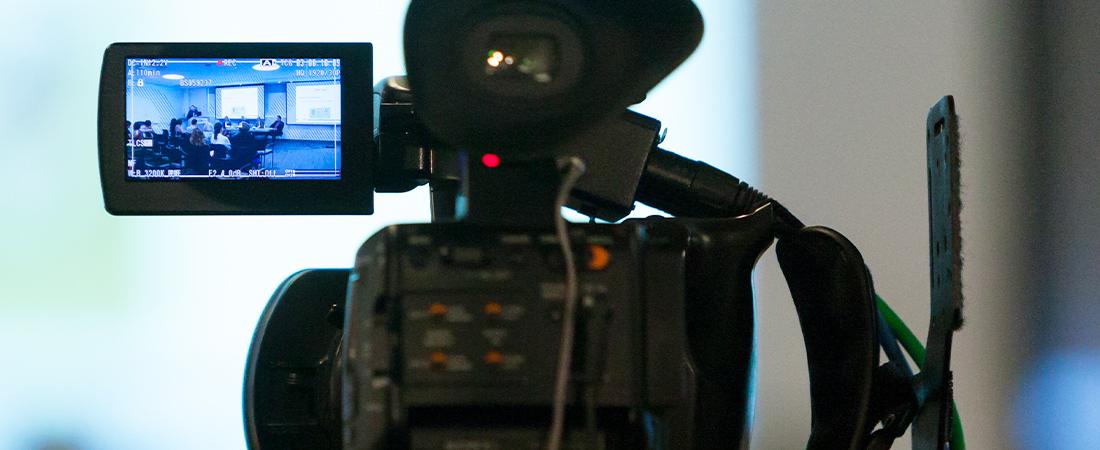 A photo of a video camera representing EDC Talks
