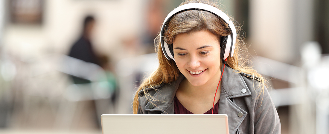 A photo of a student engaged in online education