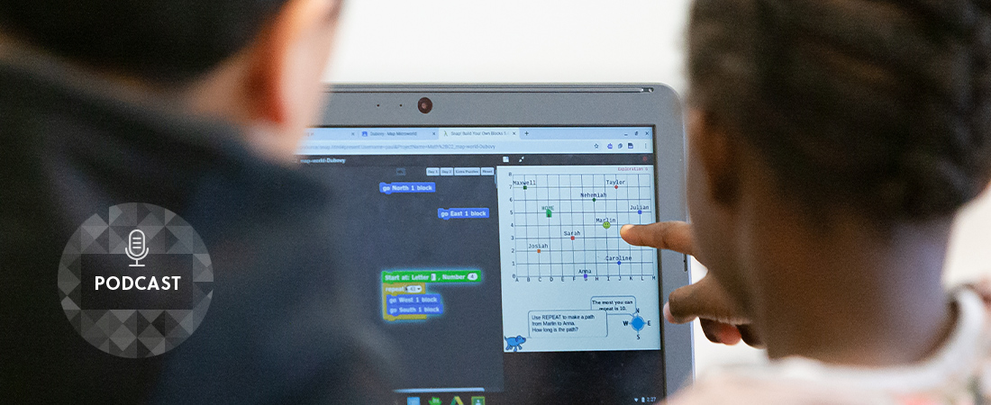 A photo of student using computer representing Could Learning to Program Help Young Children Learn Math?