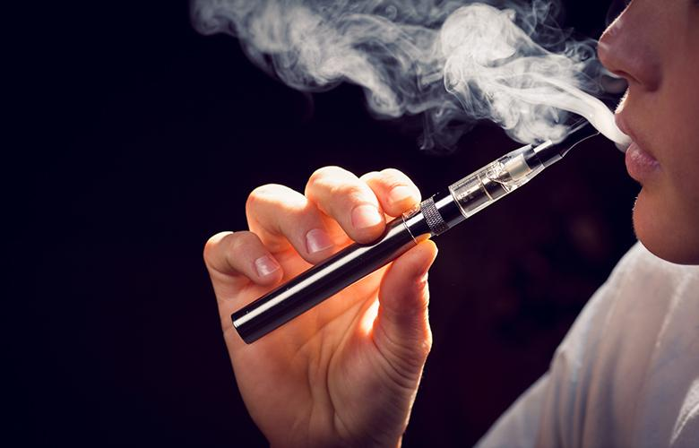A photo of a person vaping