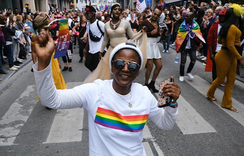 A photo of a pride parade representing Lessons from Queer History, June 2020