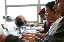 Picture of students using computers.