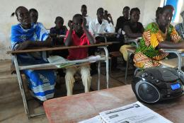 A classroom using a radio for teacher professional development in South Sudan.