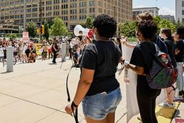 A photo of a protest representing Beyond #PoliceFreeSchools: Reimagining Safe, Equitable Schools