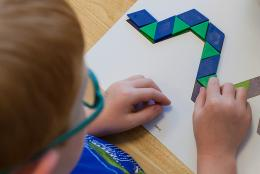 A student playing a math game.