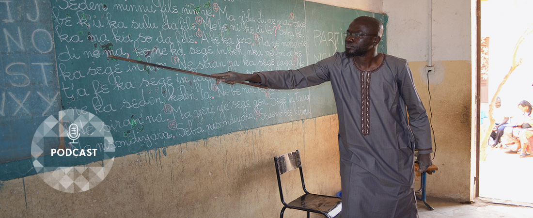 A photo of a teacher in Mali